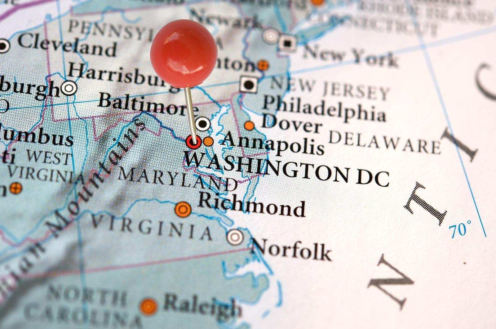 Washington DC on a map